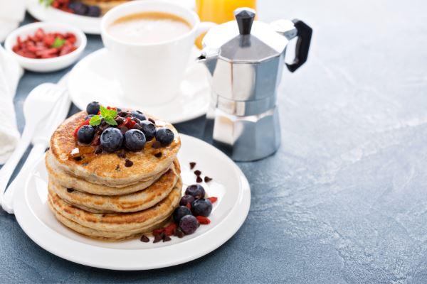 vegan chocolate chip pancakes with blueberries