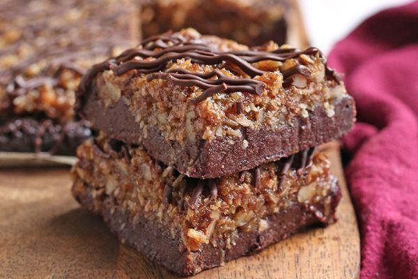 Vegan Gluten-Free German Chocolate Brownie Cake